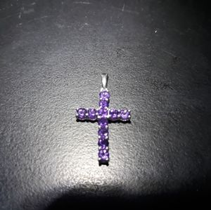 Jewelry - Natural Amethyst Cross Pendant l10